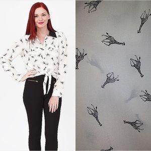 Yumi Kim giraffe silk shirt with tie, S